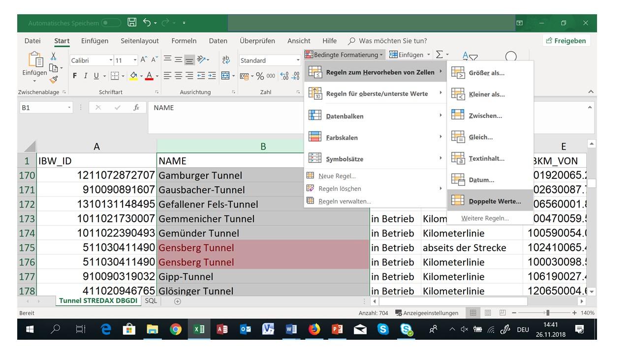 Excel doppelte werte nur einmal anzeigen